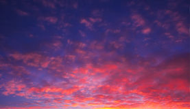Delightful fire pocked sky at sunset with sun rays Royalty Free Stock Photography