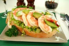 Shrimp And Avocado Sandwich Stock Photos