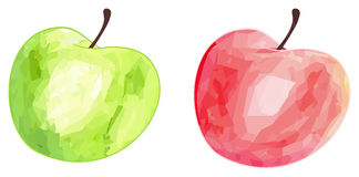 Delightful garden - Green and red apples with polygonal pattern Royalty Free Stock Photos