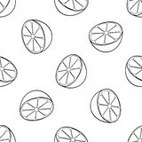 Delightful garden - Seamless pattern of a lot of lemon halves. Seamless pattern of a lot of lemon halves on white background in the Delightful garden collection Royalty Free Stock Photos