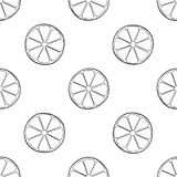 Delightful garden - Seamless pattern of a lot of lemon slices. Seamless pattern of a lot of lemon slices on white background in the Delightful garden collection Stock Photos