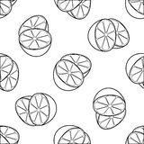 Delightful garden - Seamless pattern of two lemon. Seamless pattern of two lemon halves on white background in the Delightful garden collection Stock Photo