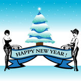 Delightful Happy New Year. Abstract colorful illustration with two delightful women holding a banner on which is written Happy New Year. New Year concept Royalty Free Stock Images