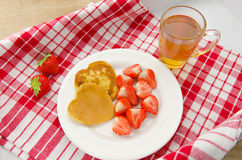 Delightful heart shaped pancakes served with. Delightful Delightful heart shaped pancakes served with Royalty Free Stock Images