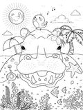 Delightful hippo adult coloring page Stock Images