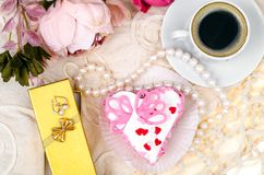 Delightful, luxury, romantic cake in the form heart. Valentine`s Day on February 14. Studio Photo stock images