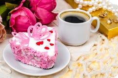 Delightful, luxury, romantic cake in the form heart. Valentine`s Day on February 14. Studio Photo stock photo