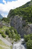 Ardon river at the entrance to the gorge Tsey. Republic of North Ossetia - Alania, Russia Royalty Free Stock Images