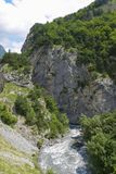 Ardon river at the entrance to the gorge Tsey. Republic of North Ossetia - Alania, Russia Stock Photo