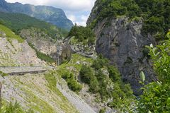 Mountain view of Tsey gorge. Republic of North Ossetia - Alania, Russia Stock Images