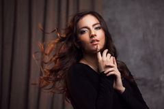 Delightful portrait of a woman brunettes, hair flying on the wind, sloppy styling Royalty Free Stock Images