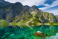A delightful scenic mountain landscape and a clean lake Czarny. Staw royalty free stock photography