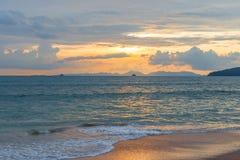 Delightful sea sunset in orange tones on the coast. Of Thailand Stock Photography