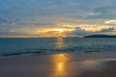 Delightful sea sunset in orange tones on the coast. Of Thailand Stock Images