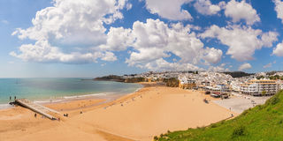 Delightful Spring panorama Albufeira beach fishermen. PortugaL. Royalty Free Stock Photo