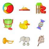 Delightful toy icons set, cartoon style. Delightful toy icons set. Cartoon set of 9 delightful toy vector icons for web isolated on white background Stock Photo