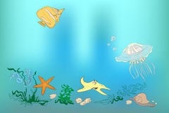 Underwater world: fish, shell, sea horses, starfish, snail, jell Royalty Free Stock Photography