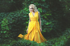 Delightful woman dressed in a yellow dress. Stock Image
