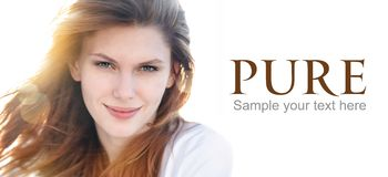 Delightful young woman on the cover Stock Photos