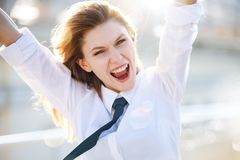 Delightful young woman scream & shout Stock Image