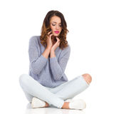 Delightful Young Woman Sitting Stock Photos