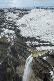 Delika Nervion siklawy naturalny zabytek w zimie, bask Cou fotografia stock
