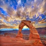 Delikat båge för bågenationalpark i Utah USA Arkivfoto
