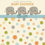Delikat baby showerkort med små elefanter stock illustrationer