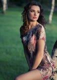 Delikat brunettkvinna som ser landskapet royaltyfria bilder