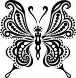 Delikat fjärilskontur Teckning av linjer och punkter Symmetrisk bild vektor illustrationer