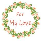 Delikat krans av kräm- rosor för min förälskelse royaltyfri illustrationer