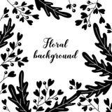 Delikat svartvit blom- bakgrund med stället för text kantlagrar låter vara vektorn för oakbandmallen Royaltyfri Fotografi