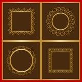 Delikata dekorativa ramar i guld Fotografering för Bildbyråer
