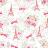 Delikata Eiffeltorn och sömlöst vektortryck för buketter Arkivfoto