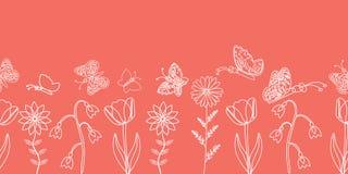 Delikata vita fjärilar och vårblommakonturer på en rosa bakgrund Gr?nsdesign royaltyfri illustrationer