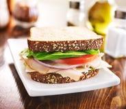 Delikatessaffärköttsmörgås med kalkon, tomaten, löken och grönsallat Arkivfoto