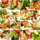 Delikatessen-Hintergrund Salat-Collage Stockbilder
