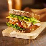 Delikatesy mięsna kanapka z indykiem Obrazy Royalty Free