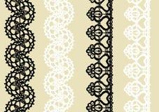 Delikatna trykotowa koronki granica: set 2 czarny i 2 biały bezszwowy wzór Fotografia Stock