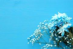 delikatny błękitny kwiatu przygotowania na drewnianym tle kosmos kopii Fotografia Royalty Free