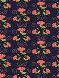 Delikatny bezszwowy śliczny wzór kwiaty w modnym koralowym kolorze na marynarki wojennej tle ilustracja wektor