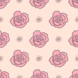 Delikatny bezszwowy wzór z dużymi różami różowym światłem i - różowe małe róże na lekkim beżowym tle ilustracja wektor