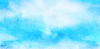 Delikatny lekki nieba b??kita koloru akwareli t?o Subtelny aquarelle maluj?ca papierowa textured kanwa dla rocznika projekta obrazy stock