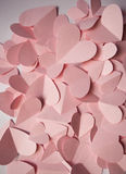 Delikatny romantyczny tło menchia papieru serca Zdjęcie Stock