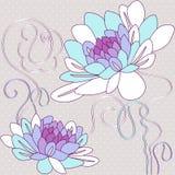Delikatny tło z dekoracyjnymi dalia kwiatami ilustracja wektor