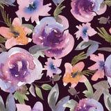 Delikatnych Purpurowych akwareli róż Kwiecisty Bezszwowy wzór royalty ilustracja