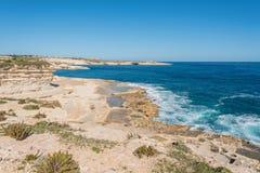 Delimara Coast in the South of Malta. Delimara Coast on a clear winter day in the South of Malta Stock Photo