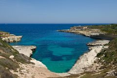 Delimara point in Malta on sunny summer day, maltese coastline, Malta postcard, Delimara point, maltese coastline, panoramic view. In Delimara,maltese shoreline Royalty Free Stock Images