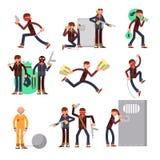 Delincuente criminal en diverso sistema del vector de las acciones Personajes de dibujos animados del ladrón y del ladrón libre illustration