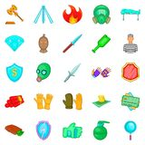Delinquency icons set, cartoon style Royalty Free Stock Photo
